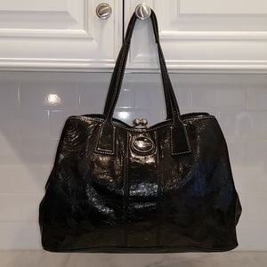 Coach Patent Leather Logo Carryall Kisslock Tote